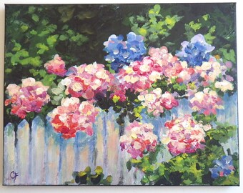 Garden painting with flowers growing over the fence, pink and blue hydrangea, lush flower painting, white picket fence