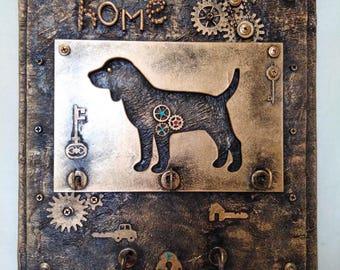 Key holder steampunk dog ,key holder under bronze,steampunk, sweet home
