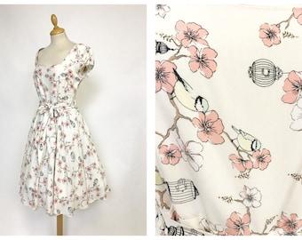 Vintage 1950s style birds and flowers novelty print cotton dress - size S/M