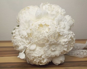 Bridal bouquet,wedding bouquet,paper flowers bouquet,paper flower peony,peonies bouquet,bridal flower,bouquet paper flower.