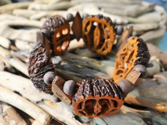 Vintage Walnut Shell Wooden Bead Bracelet Art Beads Beads Cuff Bangle Stretch Elastic Wood New Upcycled Seed Nut