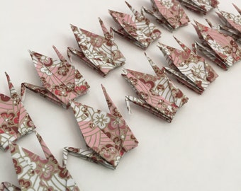 Origami Paper Cranes-12 Small Japanese Chiyogami Paper Cranes with Cherry Blossoms