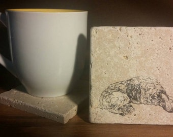 Set of 4 Borzoi Travertine Stone Coasters