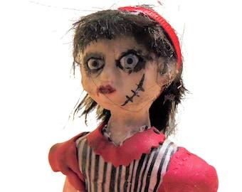 OOAK Goth Horror Art Doll -Creepy Cute Doll -  Handmade Doll - jointed doll - polymer clay doll