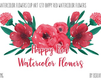 Watercolor Flowers, Happy Red Watercolor Flowers Clip Art, Watercolor flowers PNG files, Floral Watercolor Digital Clip Art, Floral Wedding