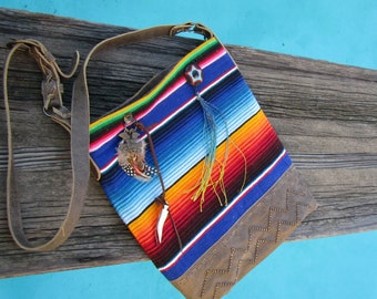 Creosote, Unique Large serape fabric and leather purse Made to Order