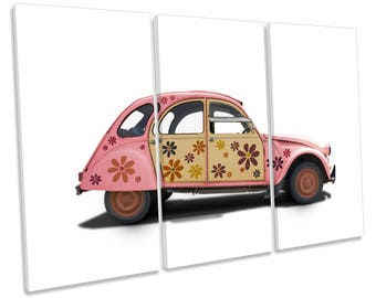 Pink Hippy Car CANVAS WALL ART Treble Box Frame Print Picture
