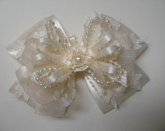 IVORY or White Satin Hair Bow Big Large Elegant Wedding Flower Girl Pageant Big Boutique Dressy Fancy Special Occassion