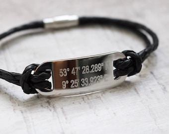 Custom Coordinates Bracelet - Coordinates Bracelet - FREE ENGRAVING