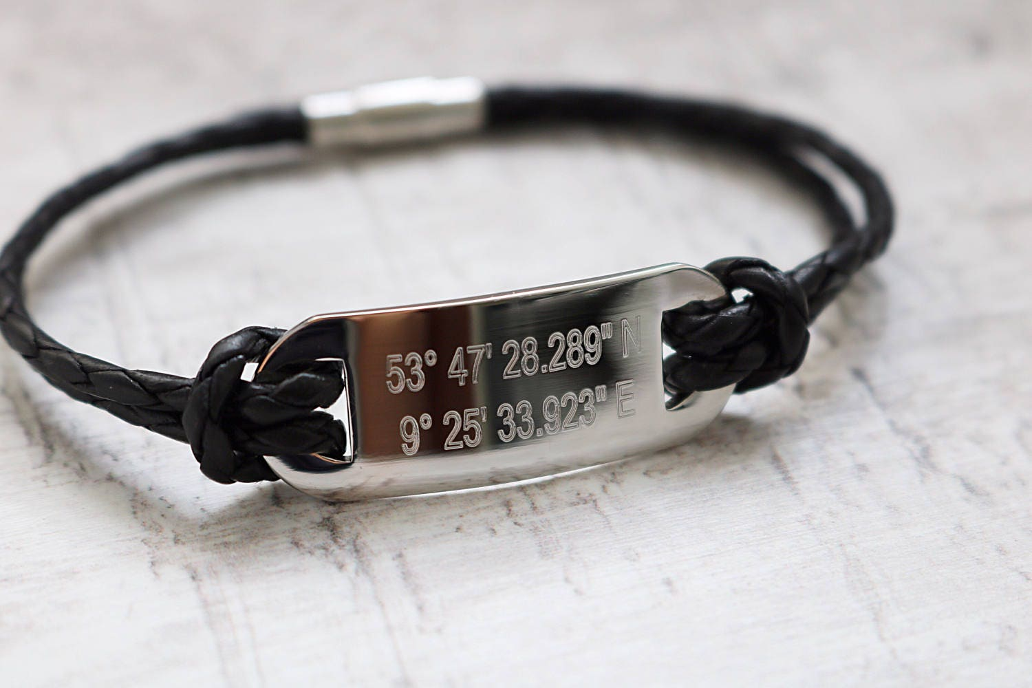 link figaro addiction custom eve coordinates gps bracelet silver coordinate s