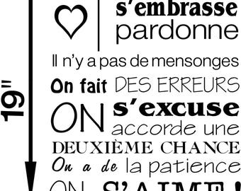 """Chez Nous"" french text wall decal"
