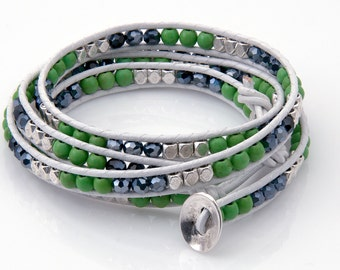 Seattle Football Wrap Bracelets with crystals, beads and leather.