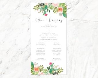 Cactus and Succulent Program, Desert Wedding Program, Palm Springs Program, Arizona Wedding Program,