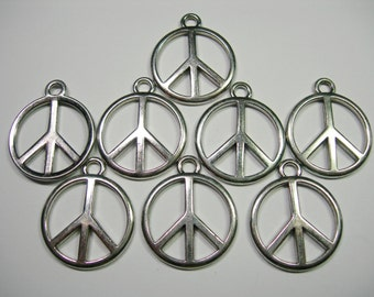 SPECIAL - Silver Tone Peace Sign Drops, pendants -8 - 28mm x 23mm