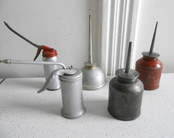 Vintage Oil Can Oilers Lot of 5 Pump and Thumb Retro Oilers 5 to 8 Oz Capacity Oilers Vintage Condition Made in USA 50's to 70's Era