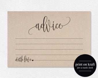 Advice Cards, Wedding Advice Cards, Marriage Advice, Advice Printable, Wedding Advice Template, PDF Instant Download #BPB203_15