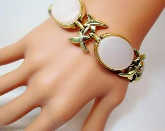 Vintage Coro Thermoset Designer Iridescence Opalescence White Bride Gold Bracelet Cuff Bangle 50's Estate Modern Art Deco Runway Statement