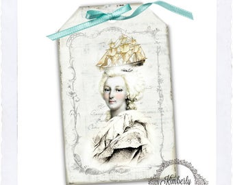 Marie Antoinette Gift Tags-Cards/Tags/Labels-Digital Collage Sheet-Instant Digital Download