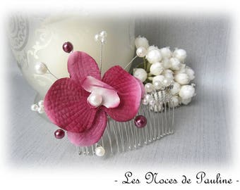 Orchid flower beads Burgundy ivory wedding hair comb