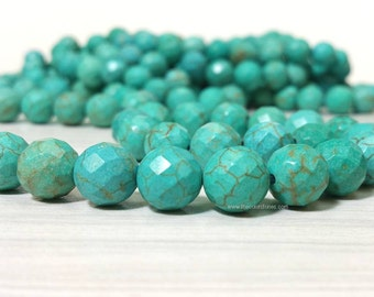Stabilized Turquoise 4 , 6 , 8 , 10 or 12 mm Faceted Round Beads - Full Strand 15 inches (G2632W20)