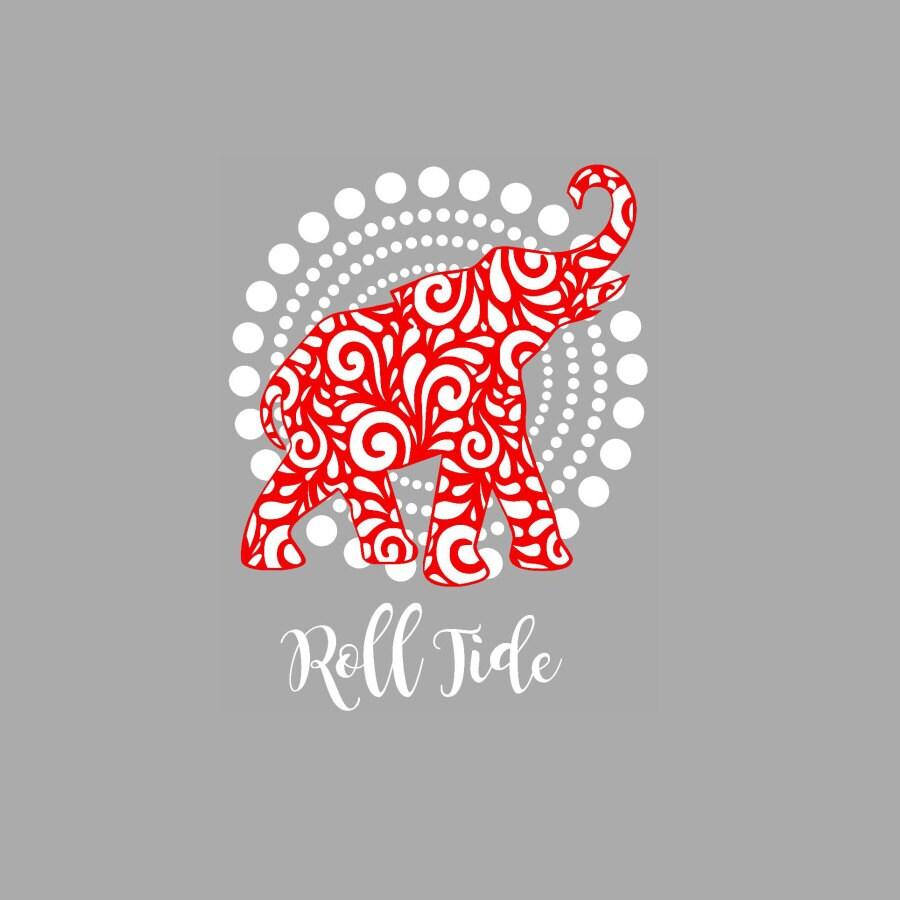 Crimson Circle Studio Creative Spaces: Alabama Roll Tide Elephant On Circle Background SVG Studio Eps