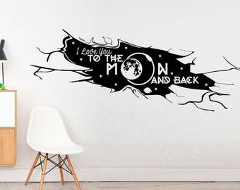 I Love to the moon... -Kids Home Alien Space Modern Rocket Love Wall stickers, Inspirational quote wall decal wall decor vinyl stickers Art