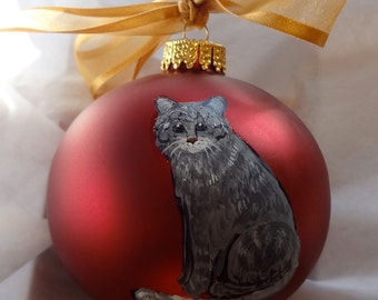 Grey Tabby Kitten Cat Hand Painted Christmas Ornament - Can Be Personalized with Name