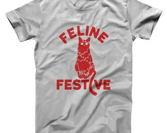 Feline Festive Funny Christmas Cat Xmas Cute Basic Men's T-Shirt DT1653