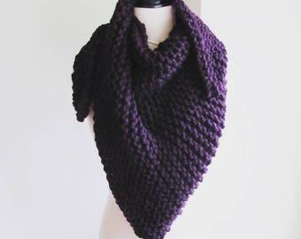 Lee Knit Triangle Wrap - Eggplant, Knit Triangle Scarf, Knit Shawl, Wool Triangle Wrap