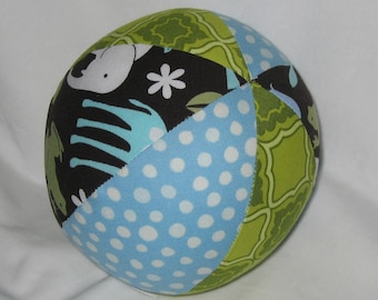 M. Miller Blue Zoology Fabric Boutique Ball Rattle Toy - SALE