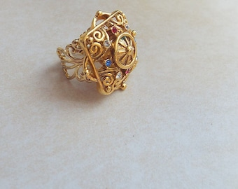 Gold Vintage Ring Rhinestone Repurposed adjustable made from old earrings Estrucian style