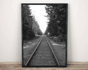 Train Track Printable Wall Art - Digital Download - Black and White Photography