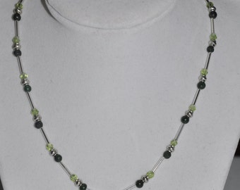 Claddaugh Necklace Green Adventurine Crystal Silver #792 One Of A Kind