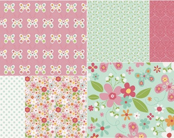 Floral Crib Bedding/ Butterfly Crib Set/ Mint Pink Bedding/ Ruffle Crib Skirt/ Flower Crib Bedding/ Baby Girl Bedding/ Garden Crib Bedding