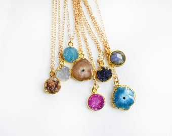Druzy Necklace, Druzy Necklace Gold, Gemstone Necklace, Raw Stone Necklace, Dainty Necklace, Gold Necklace, Simple Gemstone Necklace.