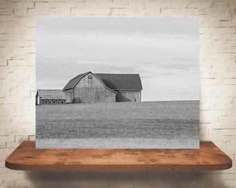 Barn Photograph - Fine Art Print - Black & White Photography - Wall Art - Wall Decor -  Barn Pictures - Farmhouse Decor - Field - Clouds