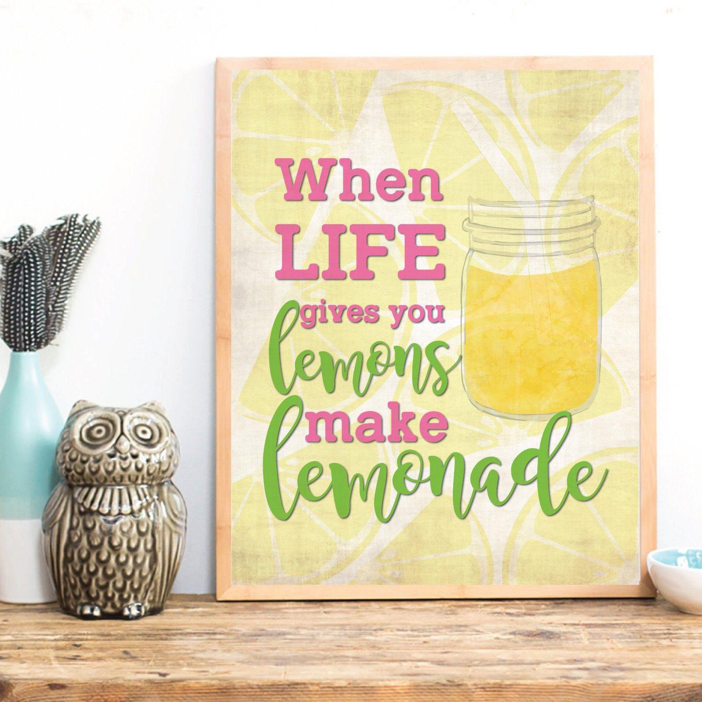 When life gives you lemons Kitchen wall art Motivation wall