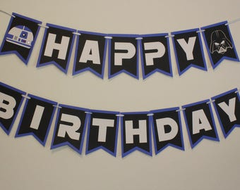Star Wars Birthday Banner | R2D2, Darth Vader, Storm Trooper, BB8