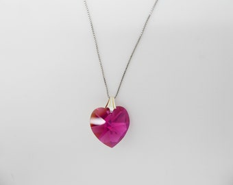 Swarovski 18mm ROSE Crystal Heart 925 Sterling Silver Pendant Necklace