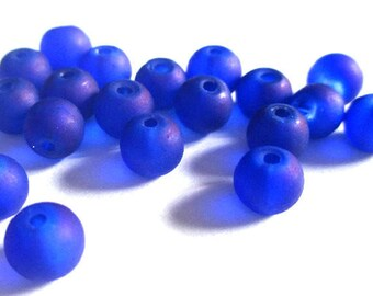 20 dark blue frosted beads 1 glass 6mm (D-27)