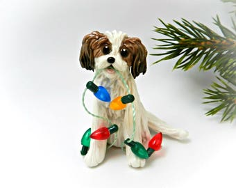 Cavachon Sable and White Porcelain Christmas Ornament Figurine Lights
