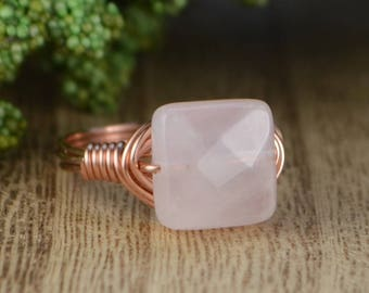 Sale! Rose Quartz Ring- Rose or Yellow Gold Filled or Sterling Silver Wire Wrapped Ring with Square Gemstone-Size 4 5 6 7 8 9 10 11 12 13 14