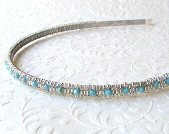 Turquoise Blue Crystal Headband Silver Beaded Beach Bride Island Paradise Oceanside Wedding Hairpiece Glass Seed Bead Diadem Bridesmaid Prom