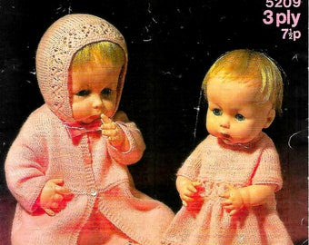 SIRDAR 5209 Vintage Doll Knitting Pattern Instant Download