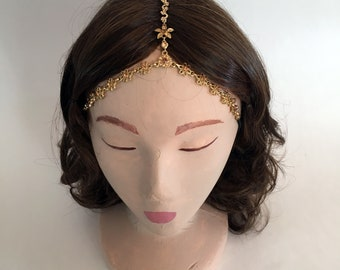 COACHELLA Gold Floral Pattern Crystal Gypsy Crown