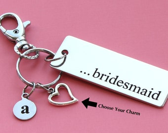 Personalized Bridesmaid Key Chain Stainless Steel Customized with Your Charm & Initial -K474