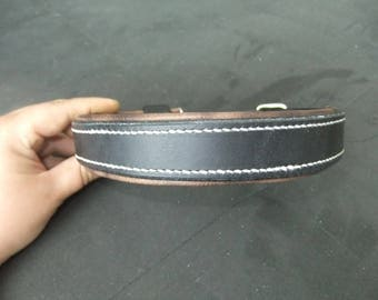 Black and 25 mm Brown leather dog collar