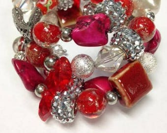 Memory Wire Bracelet - Red Flame