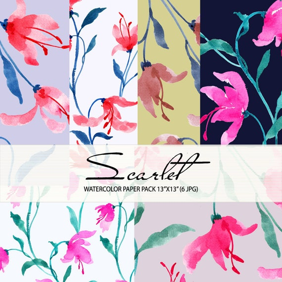 Watercolour Floral Digital Paper Pack: Flowers, Watercolour Clip Art/Flower/Watercolor Paper Pack-Scarlet