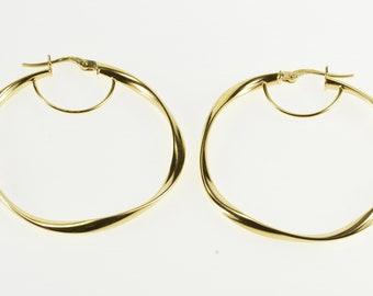 14K Twist Hollow Spiral Design Hoop Earrings Yellow Gold